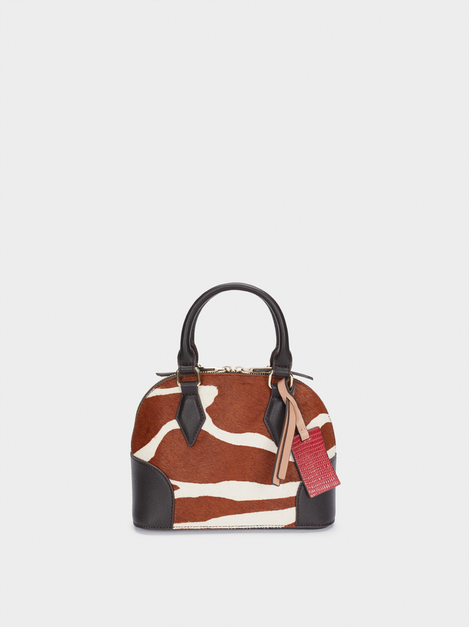 Leather Tote Bag With Animal Print, Brown, hi-res