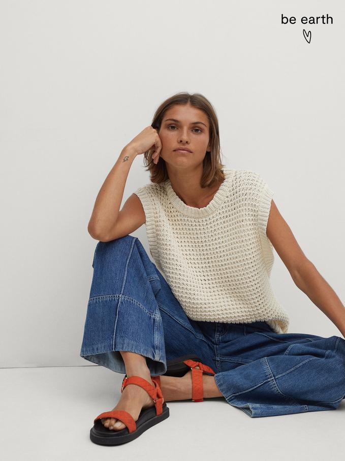 Knitted Round-Neck Vest, Ecru, hi-res