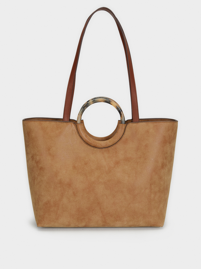 Tote Bag With Tortoiseshell Handle, Camel, hi-res