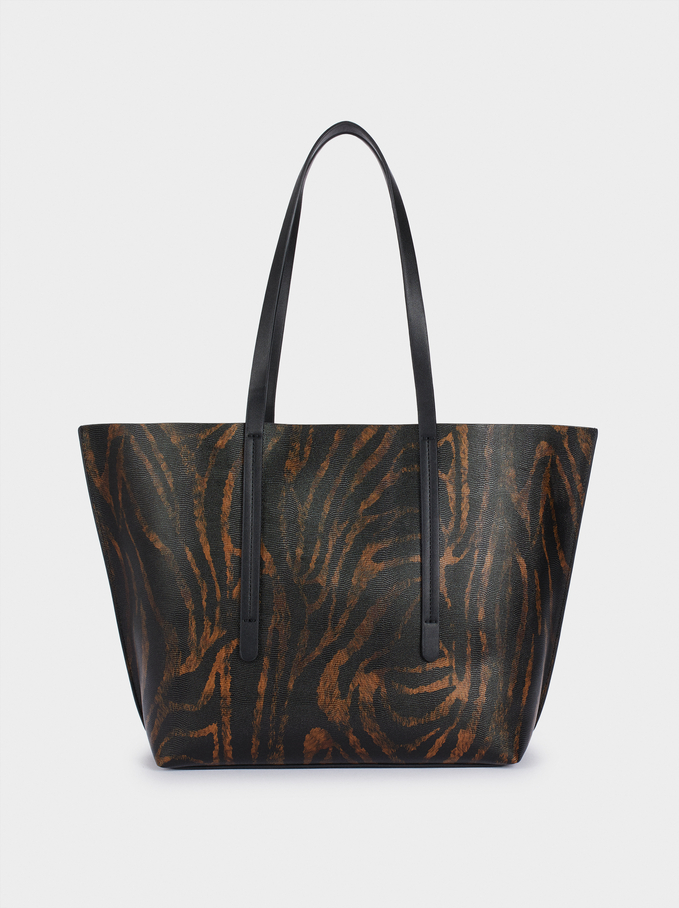 Printed Tote Bag With Removable Interior, Black, hi-res