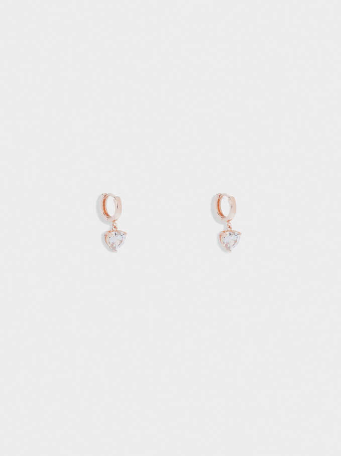 Small Hoop Earrings With Zirconia, Orange, hi-res