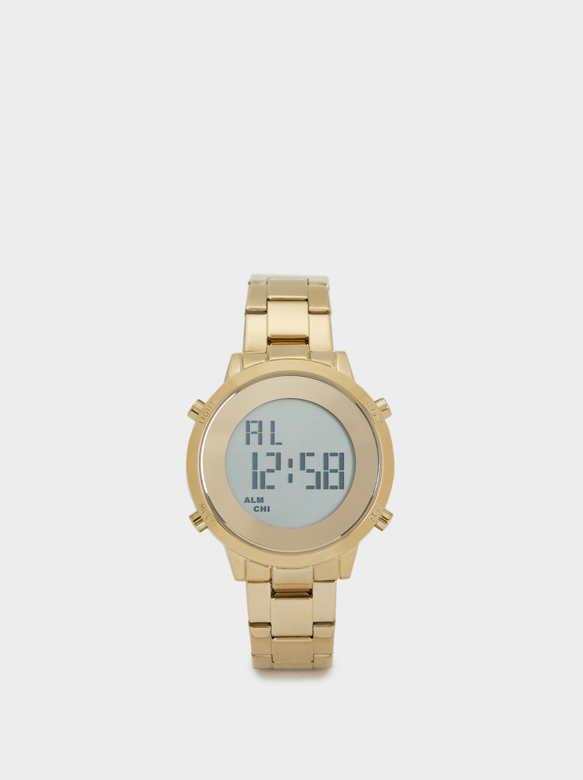 Digital Watch With Steel Wristband, , hi-res