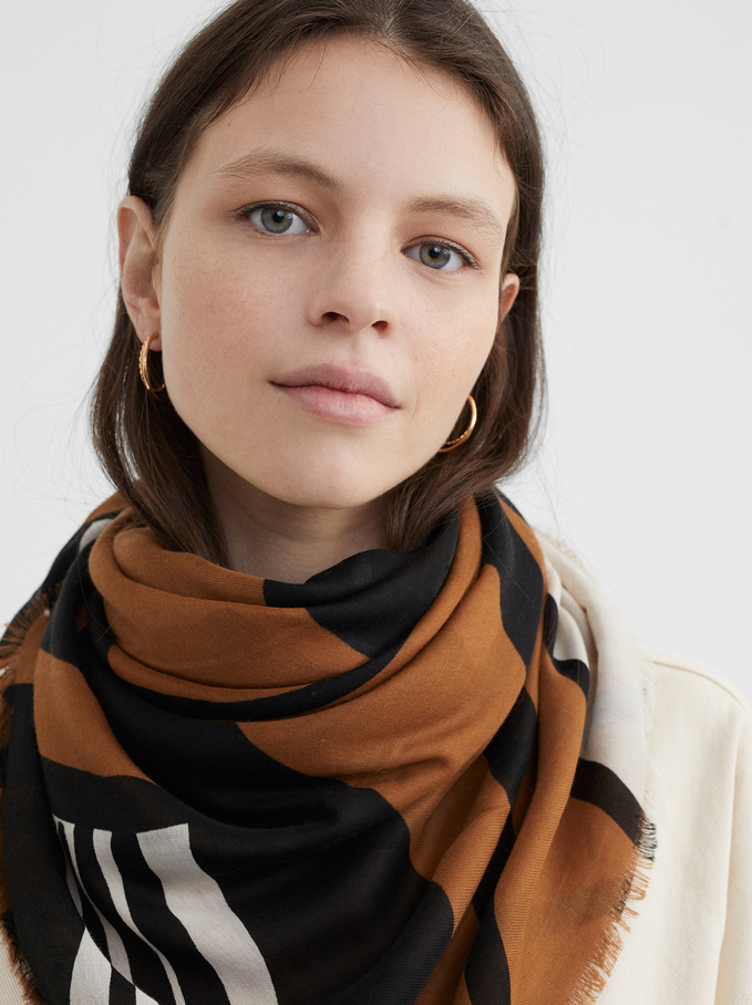 Printed Scarf, Brown, hi-res