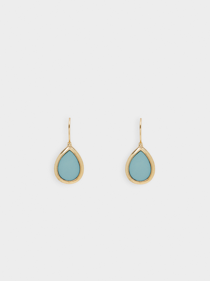 Short Dangling Earrings, Green, hi-res
