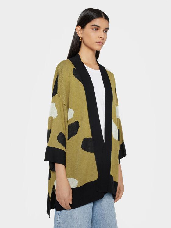 Knit Kimono, Khaki, hi-res