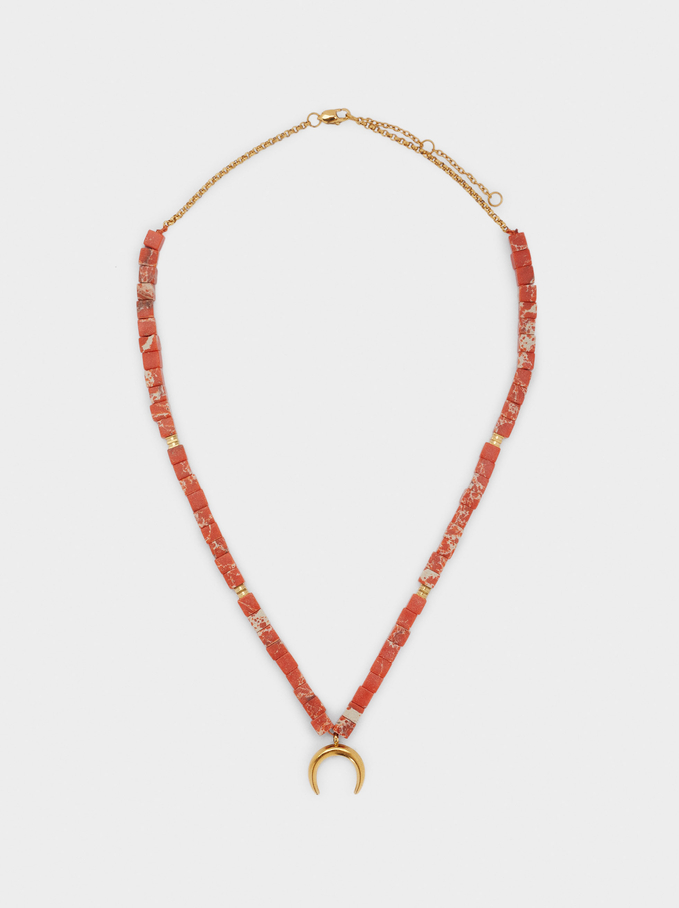 Short Steel Necklace With Stone And Horn, Coral, hi-res