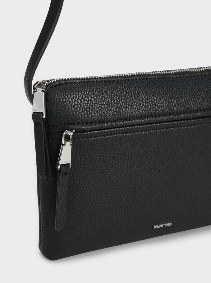 Crossbody Bag With Outer Pocket, Black, hi-res