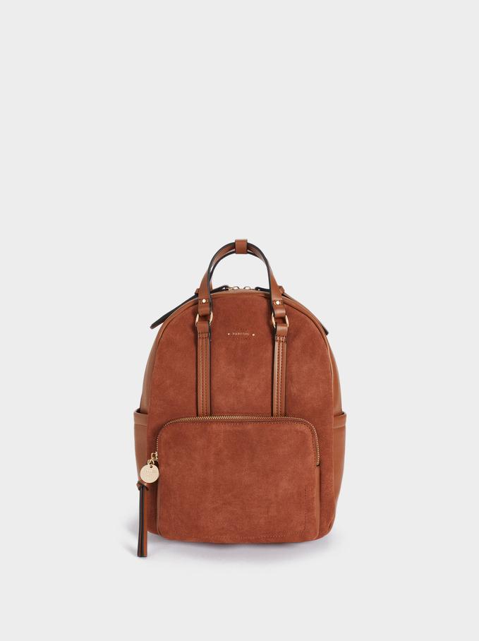 Suede Backpack With Outer Pocket, Camel, hi-res