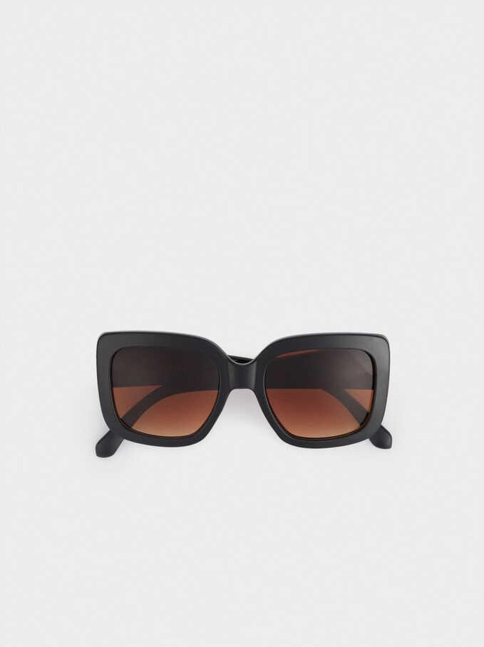 Sunglasses With Square-Cut Frames, Black, hi-res