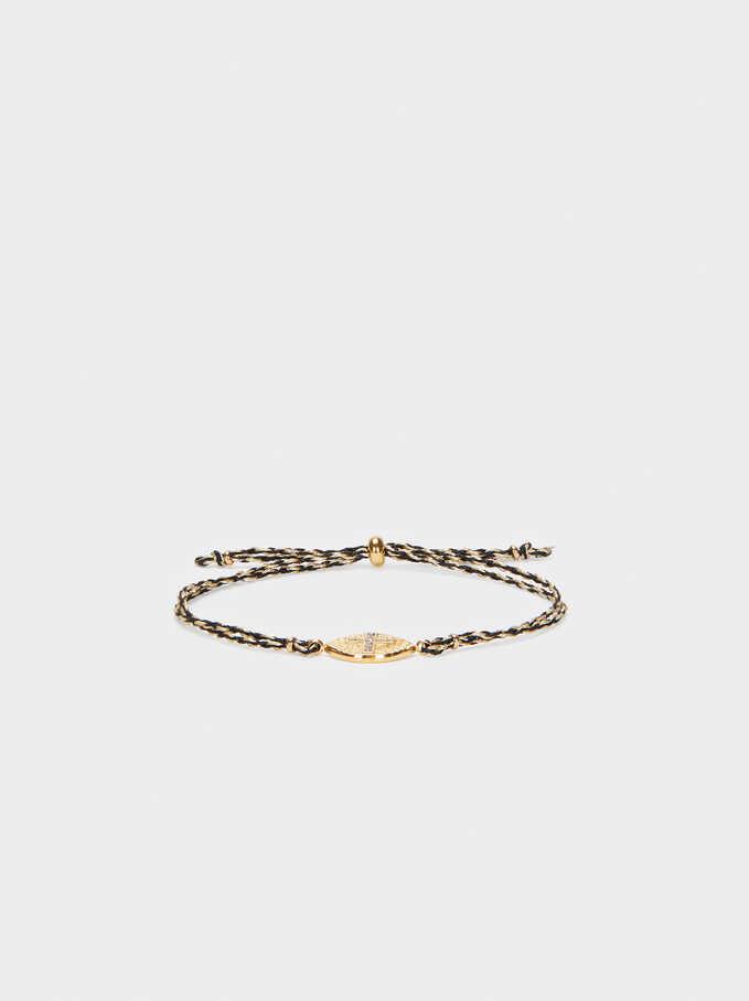 Adjustable Cross Steel Bracelet With Crystals, Black, hi-res
