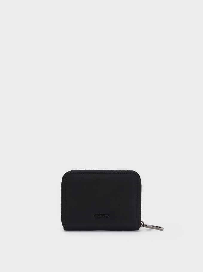 Compact Zipped Purse, Black, hi-res