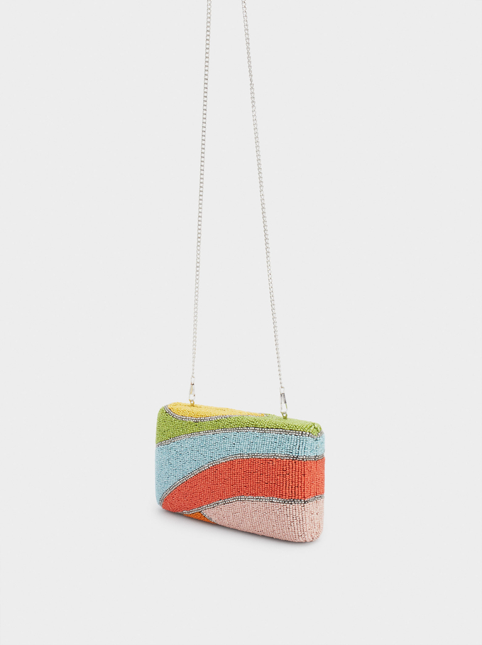 Beaded Party Clutch, Coral, hi-res