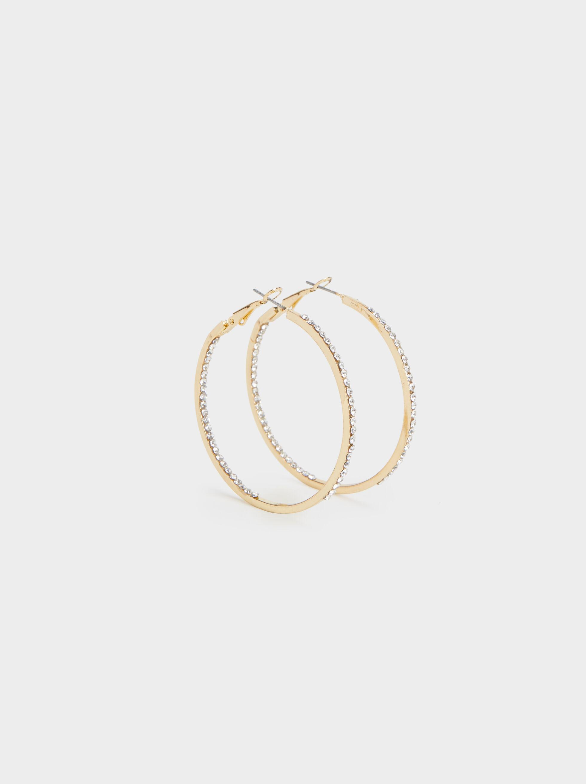 Large Rhinestone Hoop Earrings, , hi-res