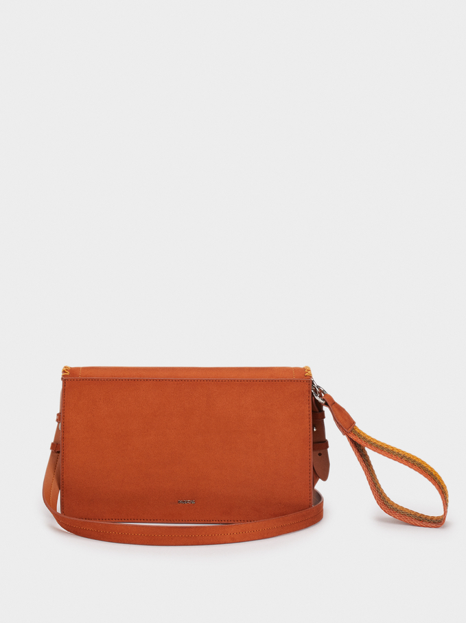 Suede Texture Shoulder Bag, Brick Red, hi-res