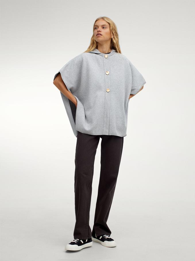 Hooded Knit Poncho, Grey, hi-res