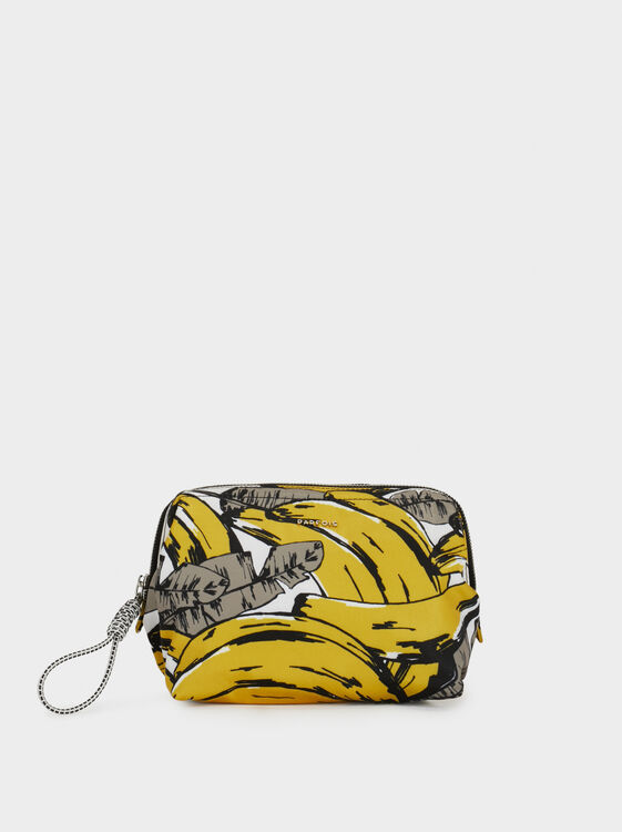 Medium Nylon Toiletry Bag, Yellow, hi-res