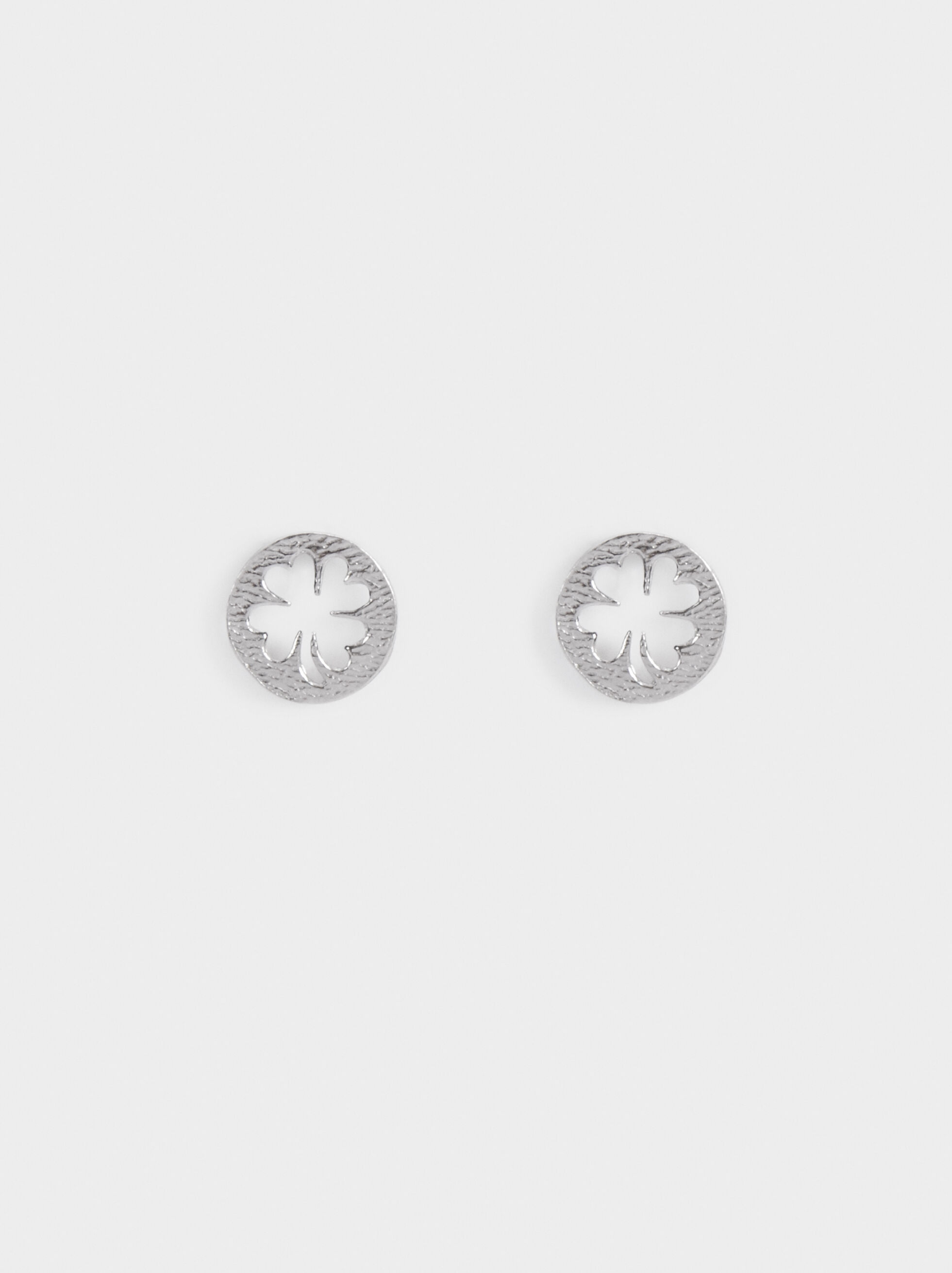 925 Sterling Silver Short Earrings, Silver, hi-res