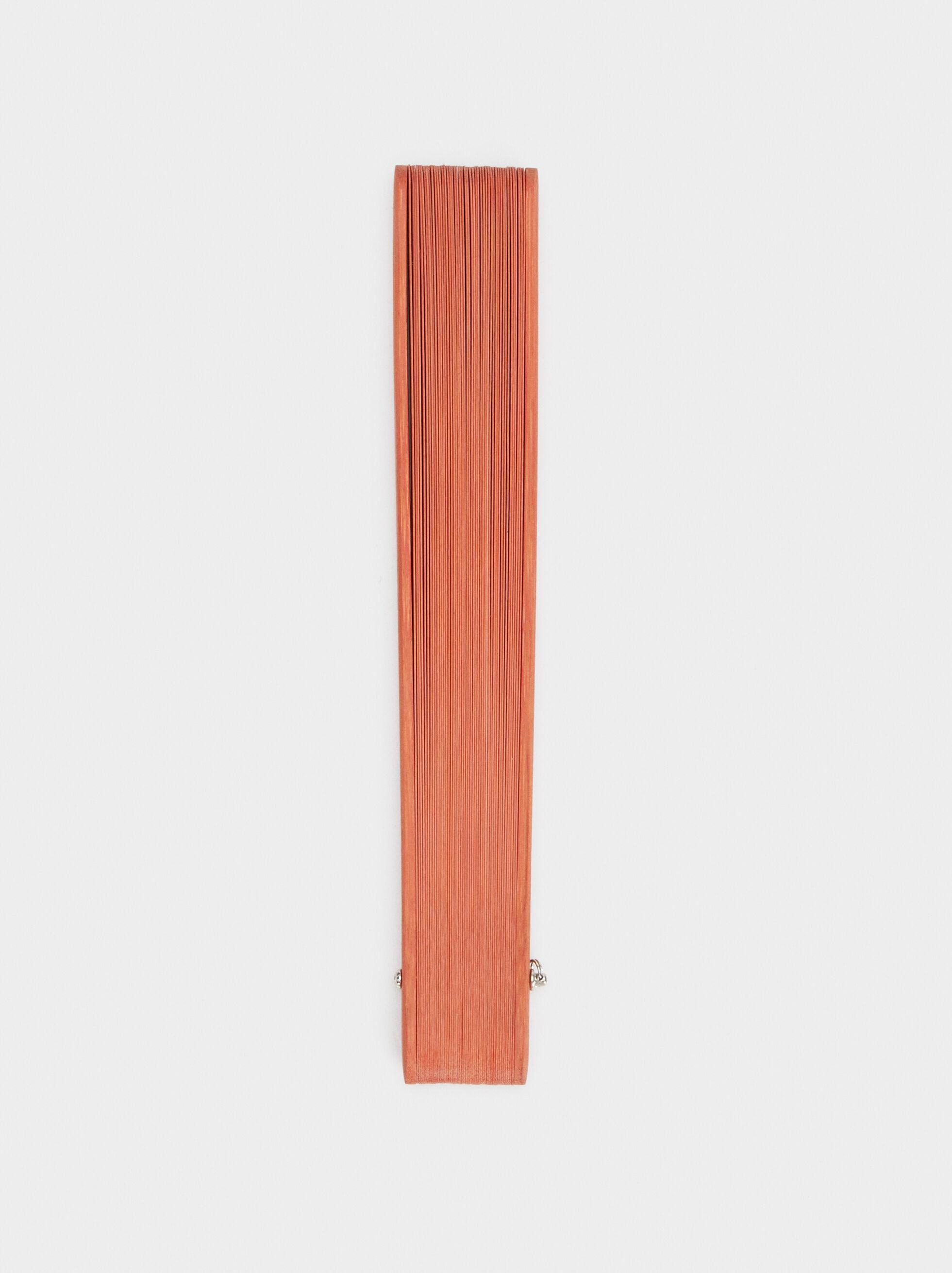 Faux Wood Fan, Pink, hi-res