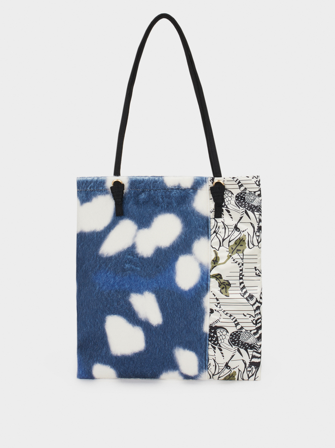 Printed Fabric Bag, Blue, hi-res