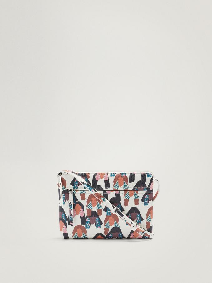 Printed Crossbody Bag, Ecru, hi-res