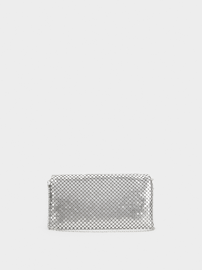 Big Mesh Party Clutch, Silver, hi-res
