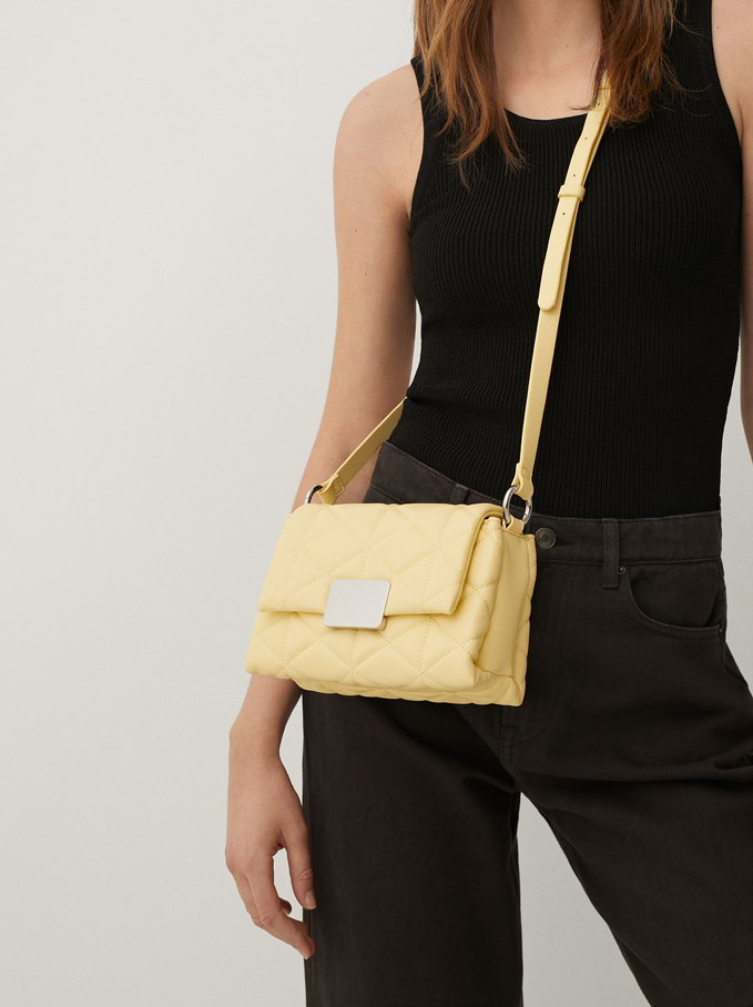 Quilted Crossbody Bag, Yellow, hi-res