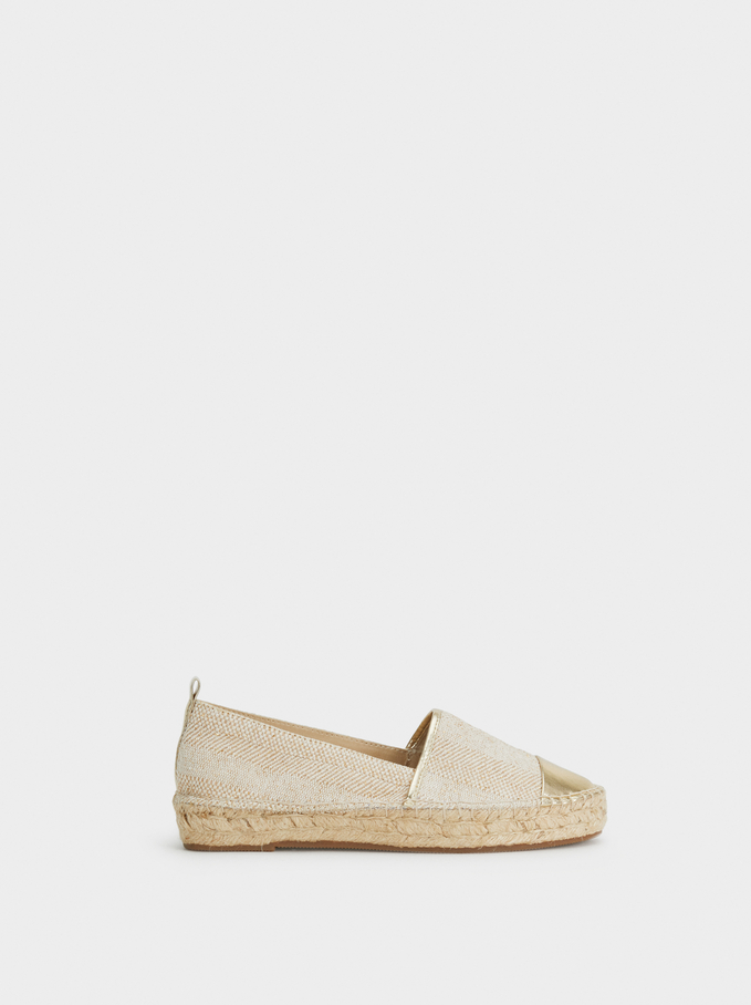 Espadrilles With Metallic Toe, Golden, hi-res