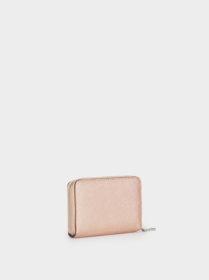 Large Plain Wallet, Orange, hi-res