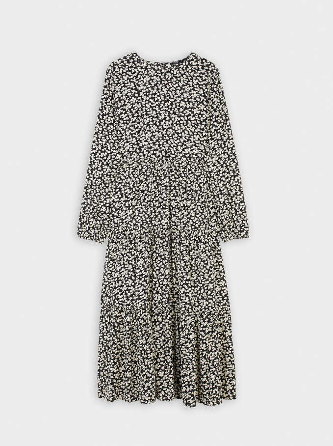 Printed Tiered Dress, Black, hi-res