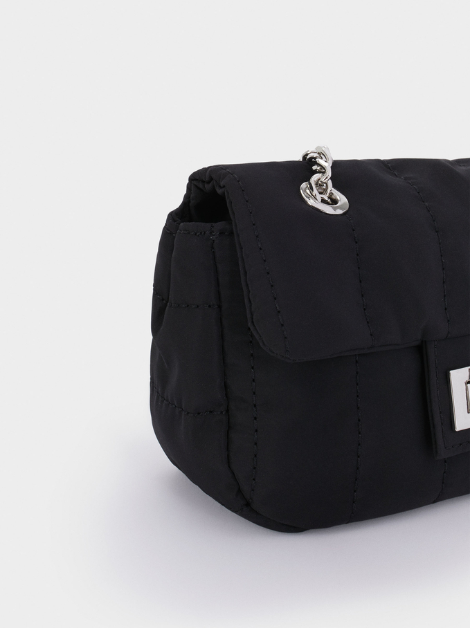 Quilted Nylon Crossbody Bag, Black, hi-res