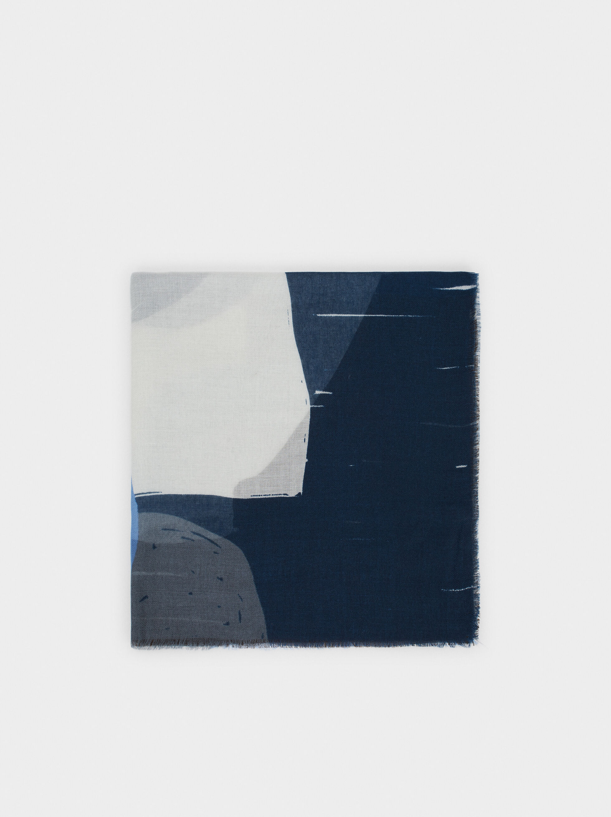 Printed Scarf, Blue, hi-res
