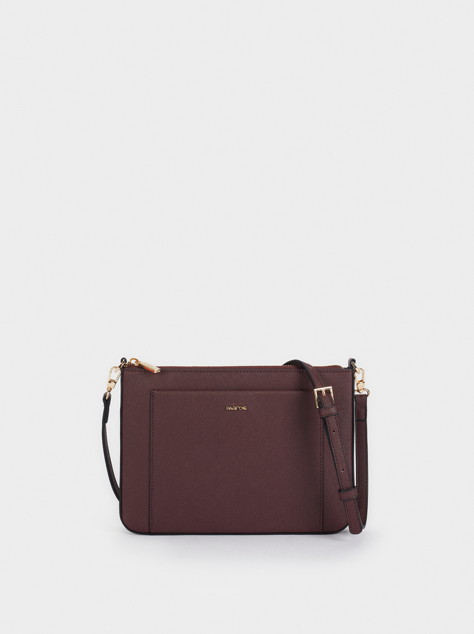 Crossbody Bag With Outer Pocket, Bordeaux, hi-res