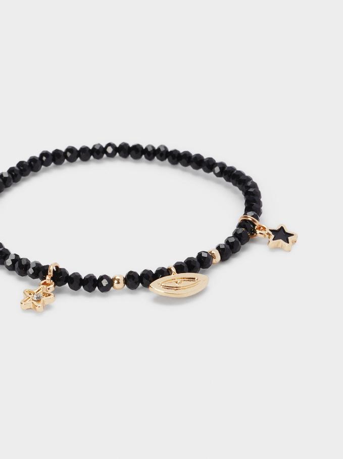 Bracelet Élastique Avec Charms, Noir, hi-res