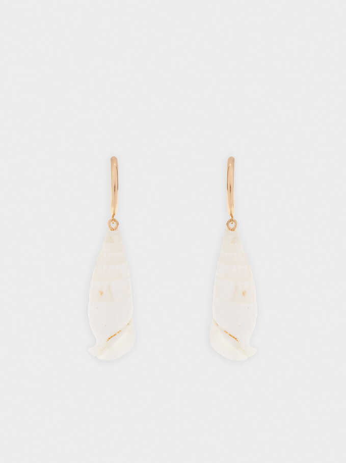 Large Shell Hoop Earrings, Golden, hi-res