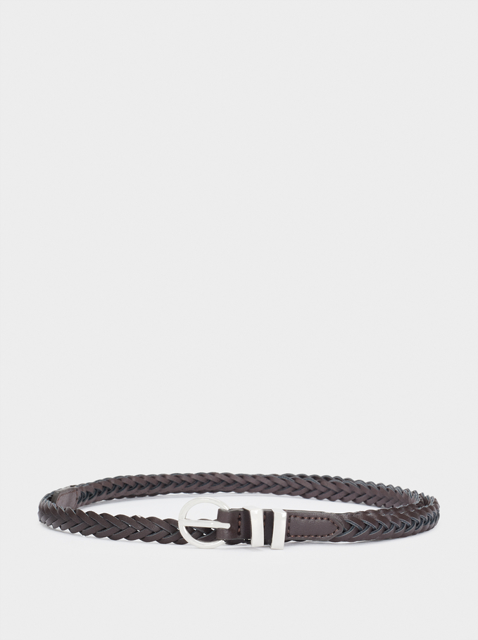 Braided Belt, Brown, hi-res