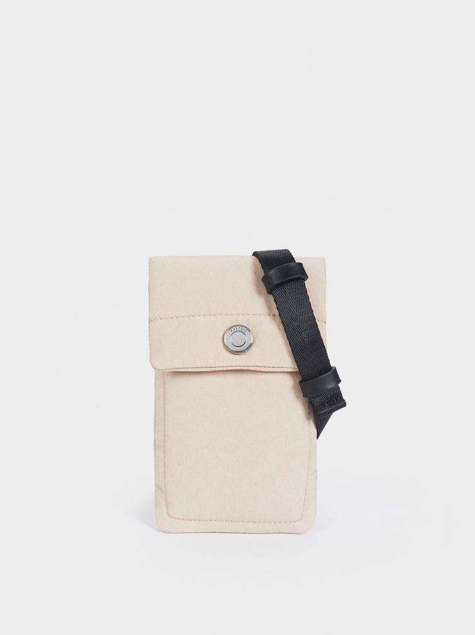 Nylon Mobile Phone Case Made From Recycled Materials, Ecru, hi-res