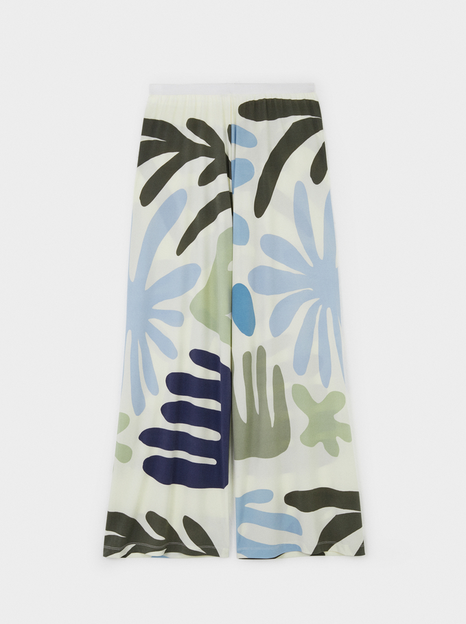 Printed Comfort Trousers, White, hi-res