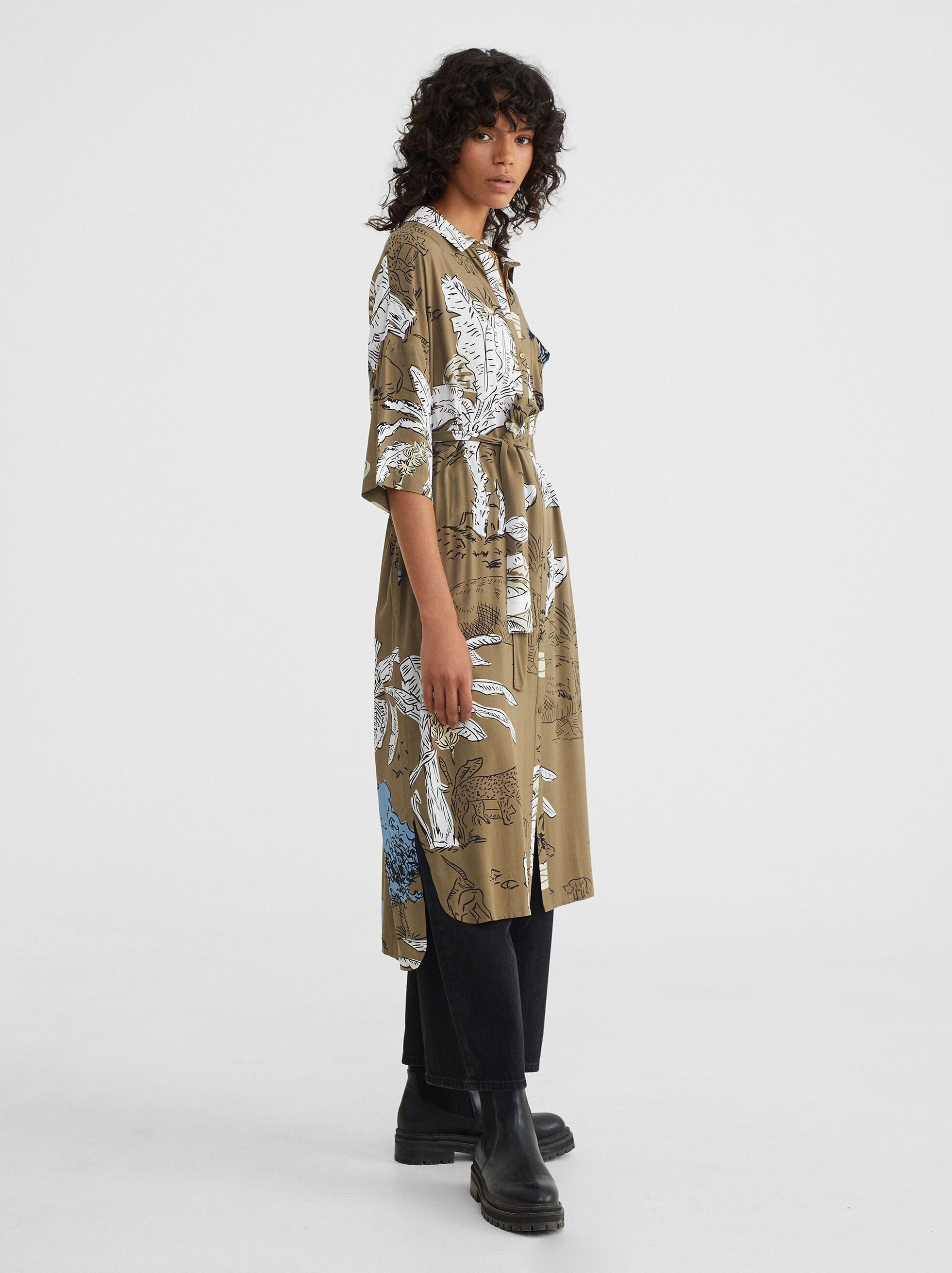 Printed Shirt Dress With Belt, Green, hi-res