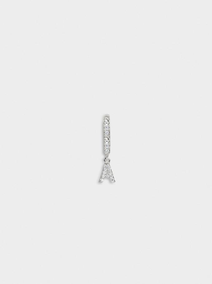 Petit Créole En Argent 925 Et Zircone Avec Lettre Initiale, Argent, hi-res
