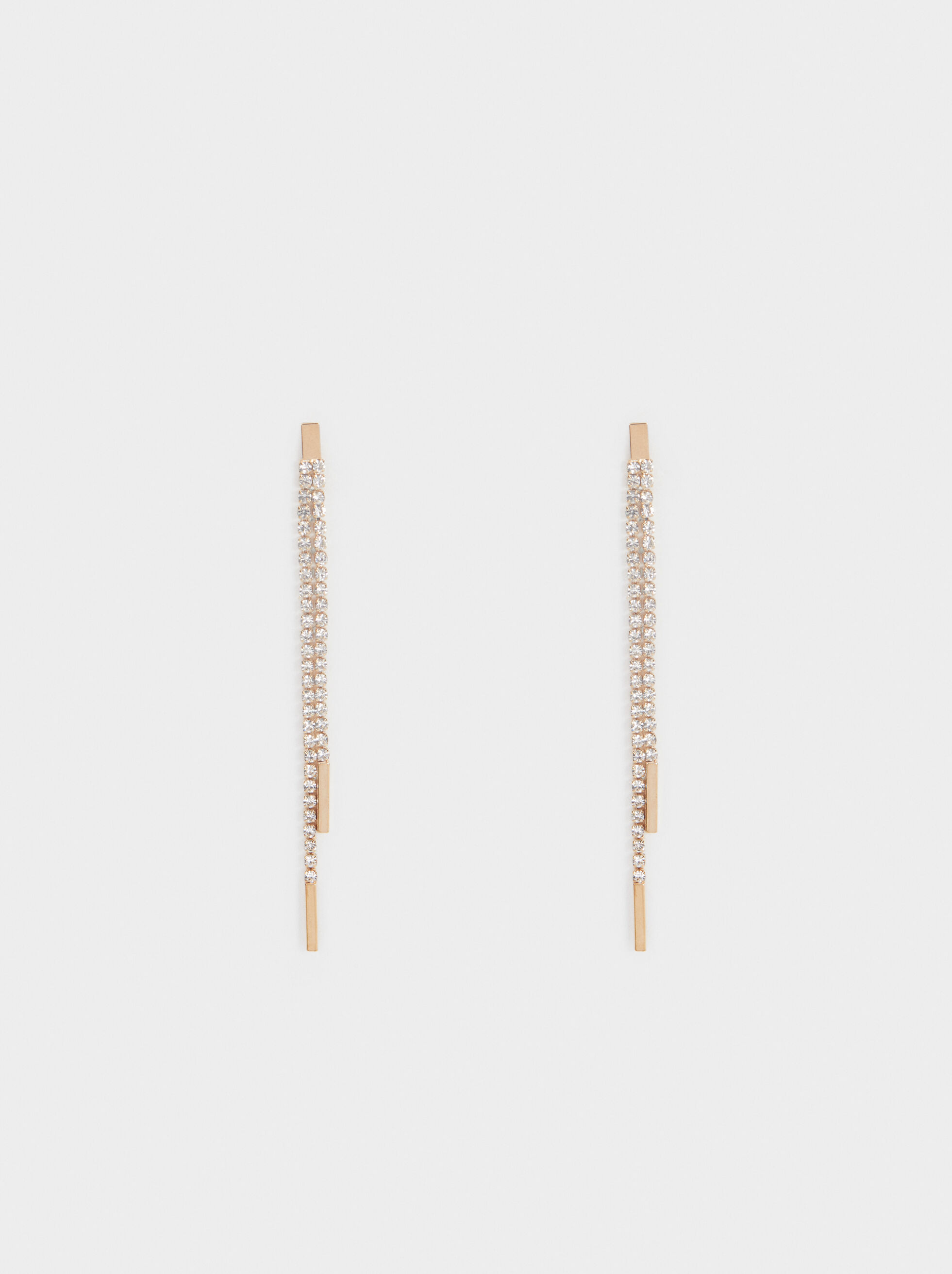 Long Rhinestone Earrings, , hi-res