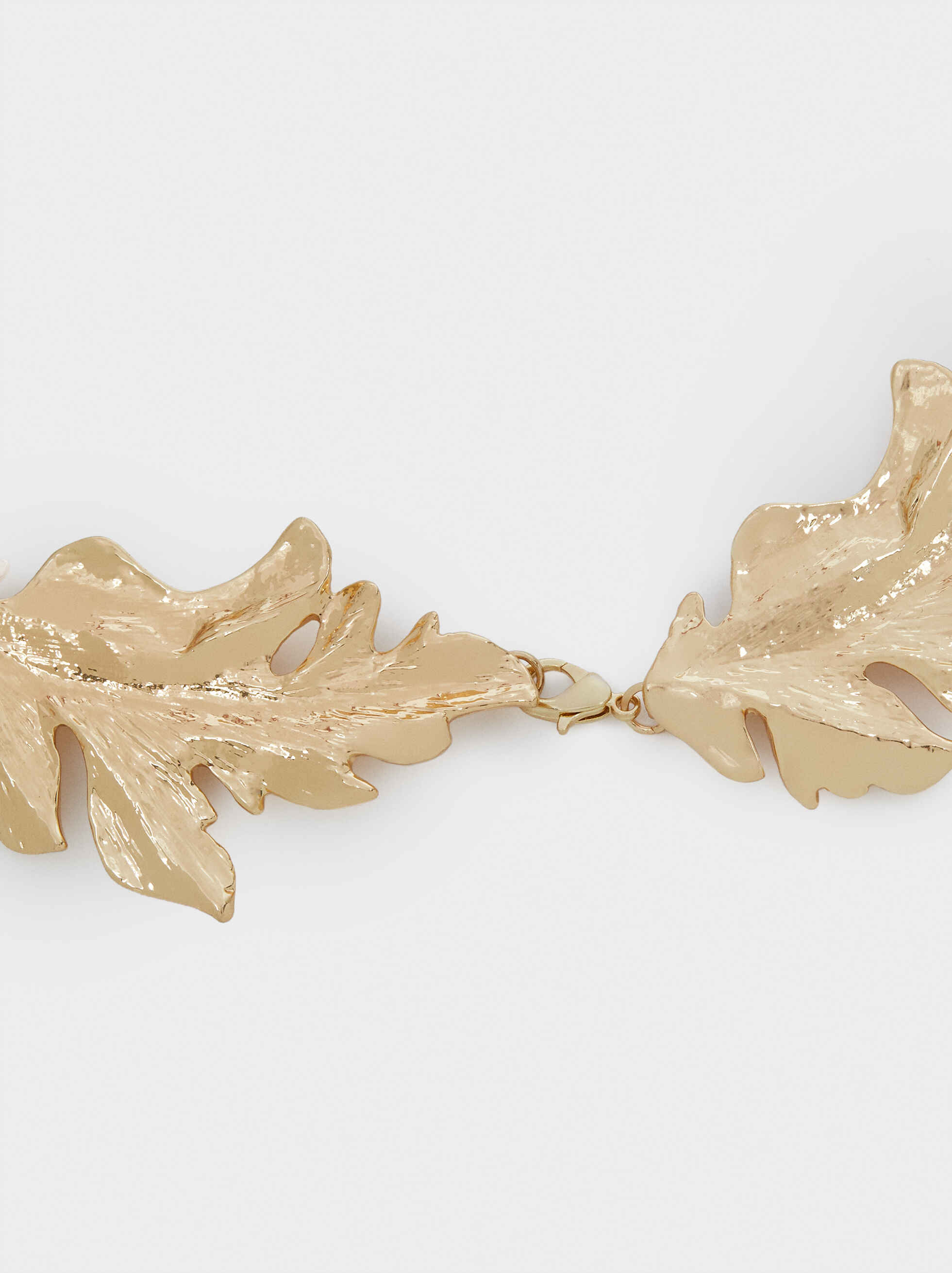 Short Gold Leaf Necklace, Golden, hi-res
