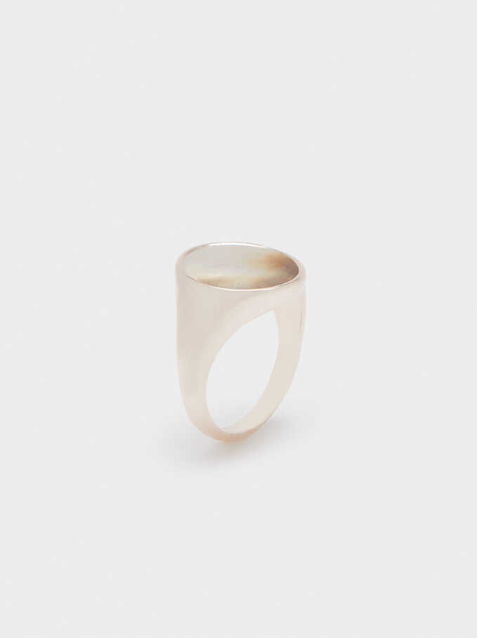 Seashell Signet Ring , Orange, hi-res
