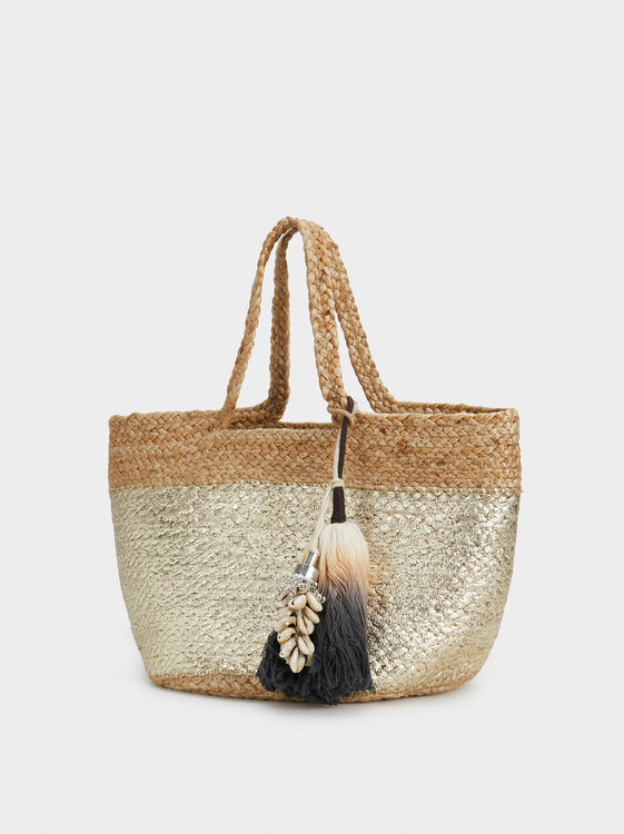Medium Faux Raffia Tote Bag, Ecru, hi-res