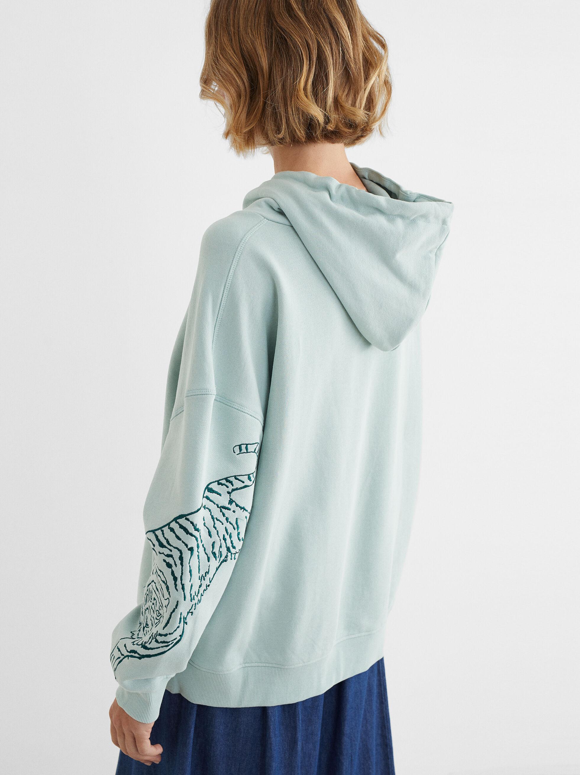 Sweatshirt De Estampado Animal Com Capuz, Cinzento, hi-res