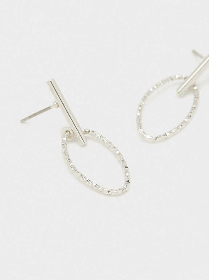 Studs With Rhinestone Detail, Silver, hi-res