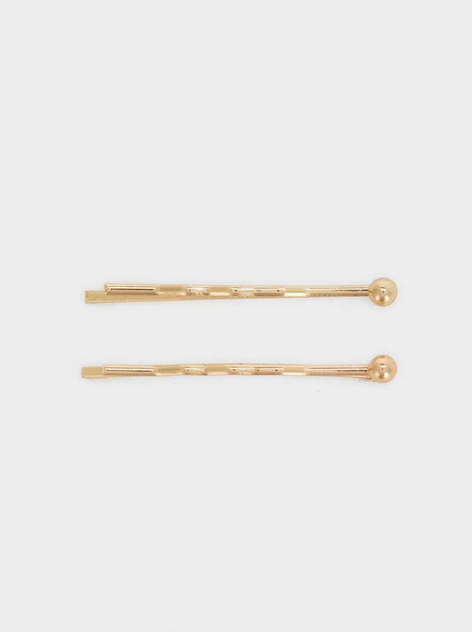 Metallic Bobby Pin, Golden, hi-res