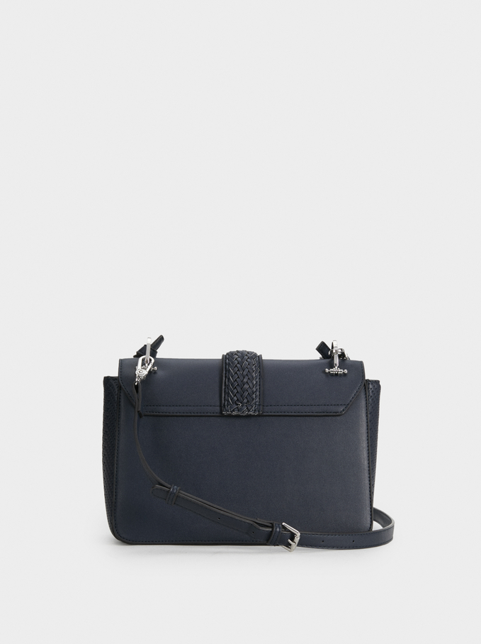 Crossbody Bag With Buckle Detail, Navy, hi-res