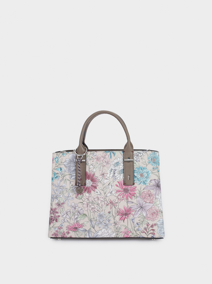 Floral Print Tote Bag With Charm, Brown, hi-res