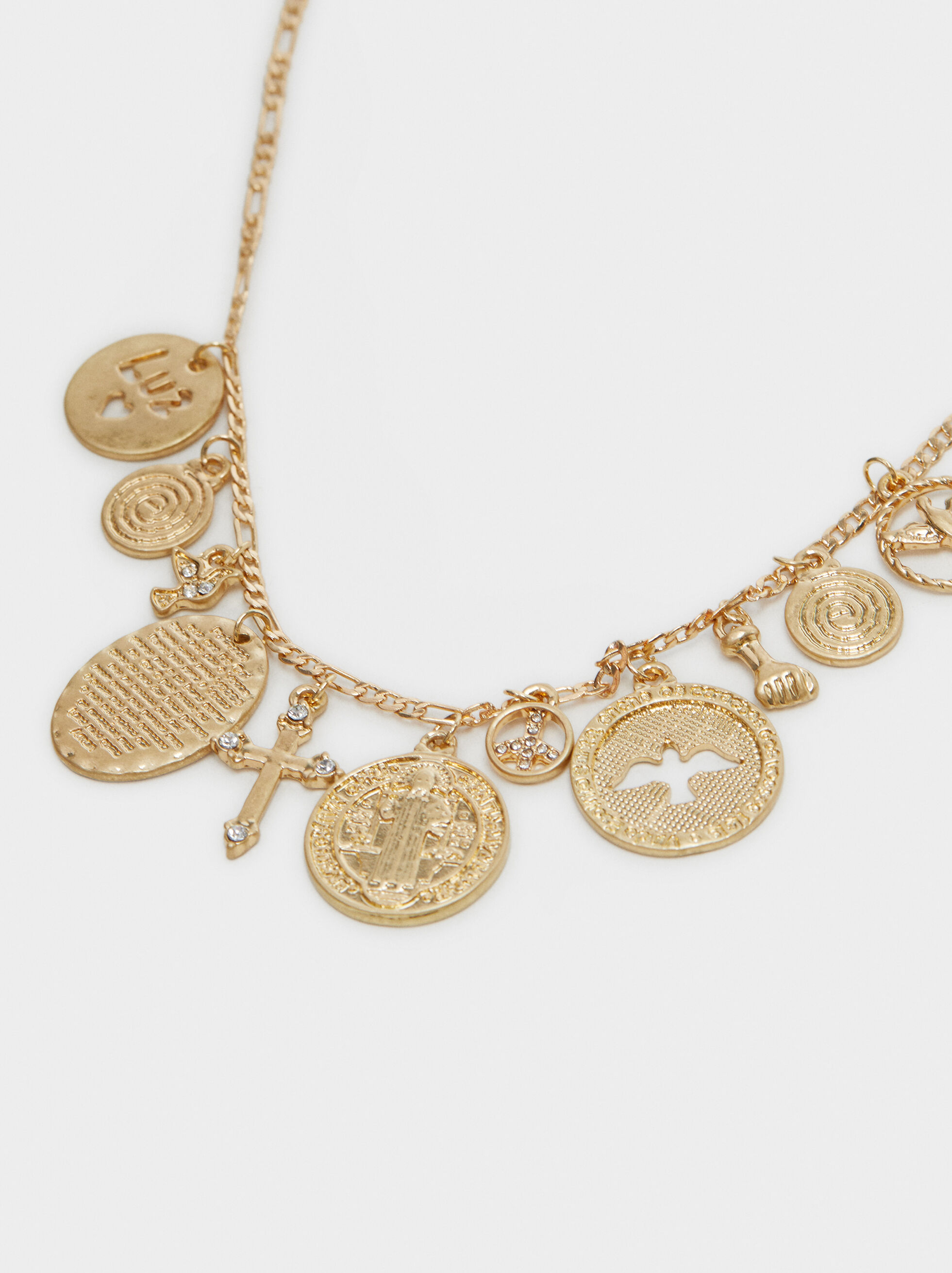 Short Necklace With Pendants, Golden, hi-res