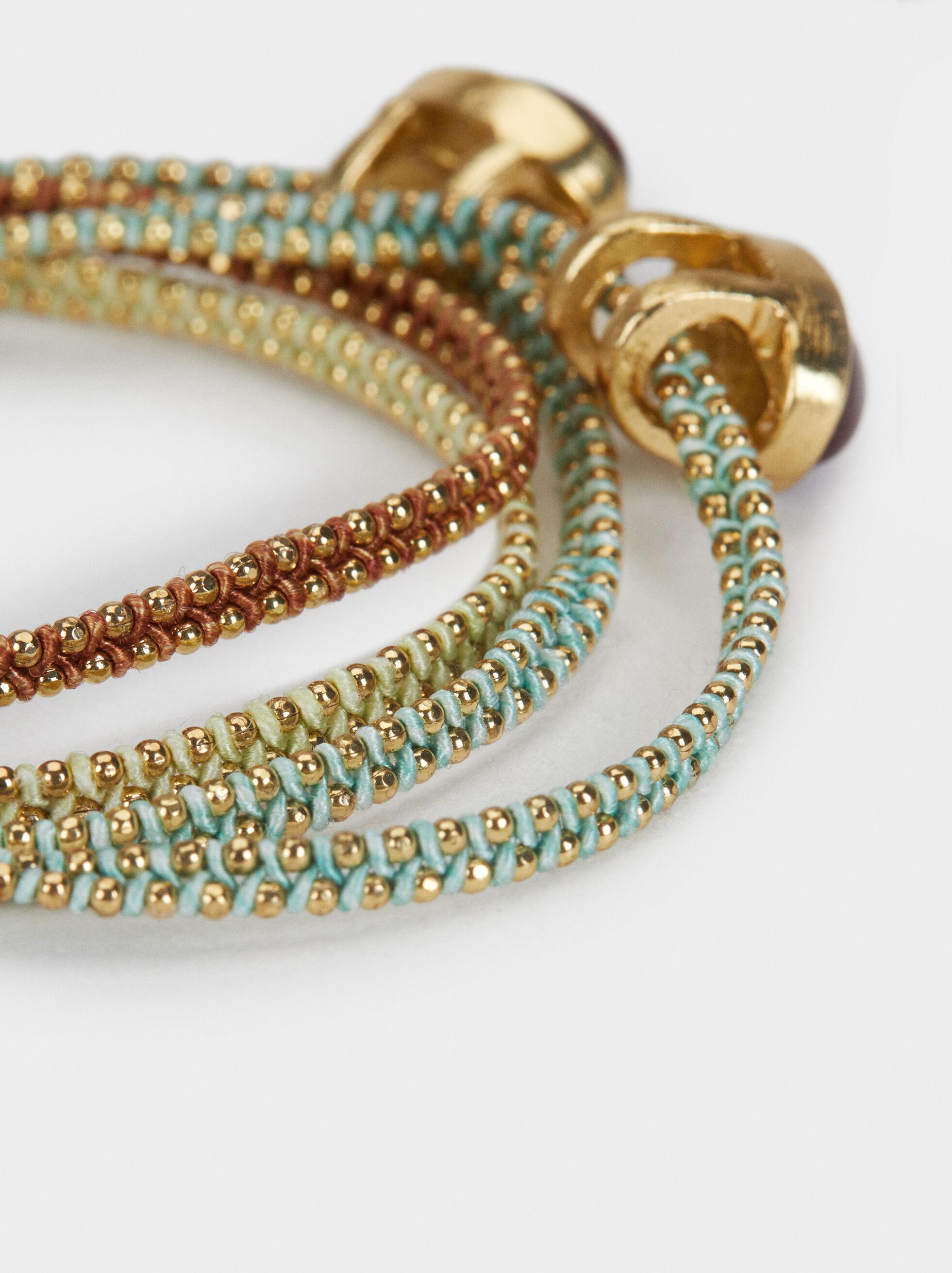 Set Of Pink Lemon Velvet Bracelets, Multicolor, hi-res